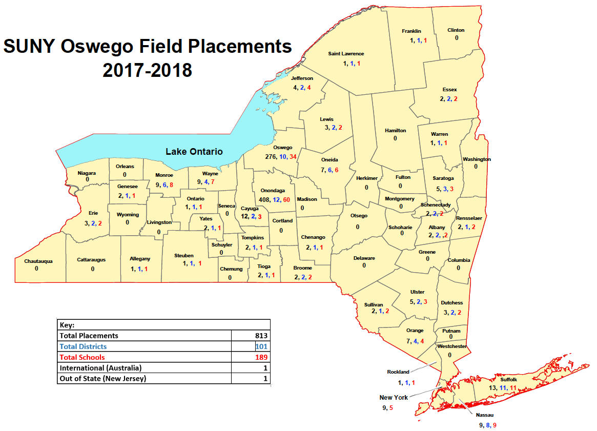 Suny Oswego Map In state placement map | SUNY Oswego Strategic Plan